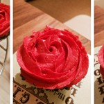 delicious chocolate cupcakes with red icing