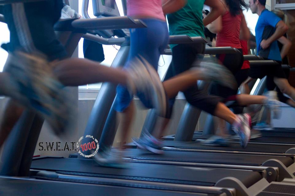 sweat1000 people running on the treadmill