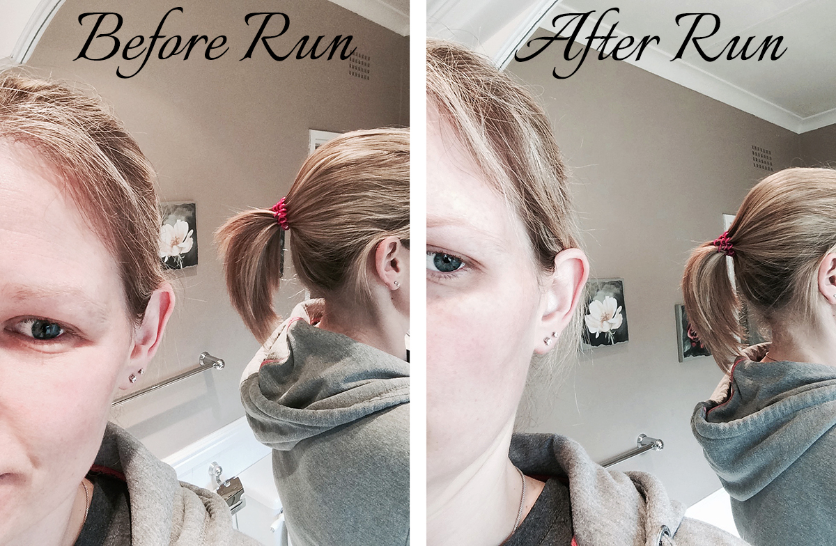 My ponytail tied with invisibobble before and after a run