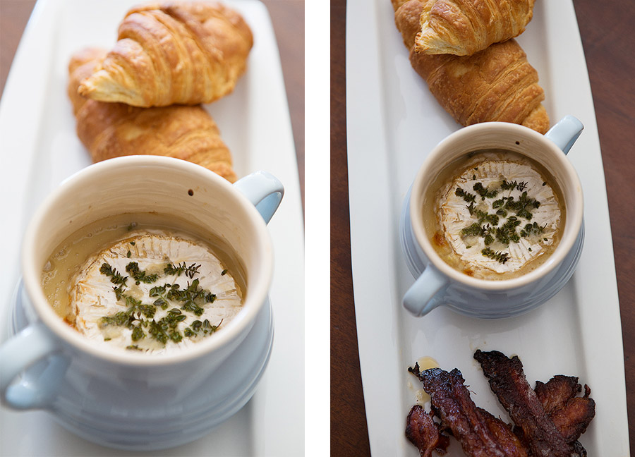 Baked Camembert cheese with baked bacon and croissants