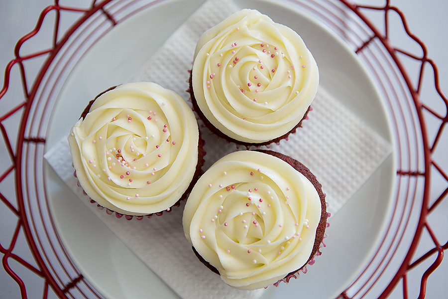 Red velvet cupcakes with cream cheese icing