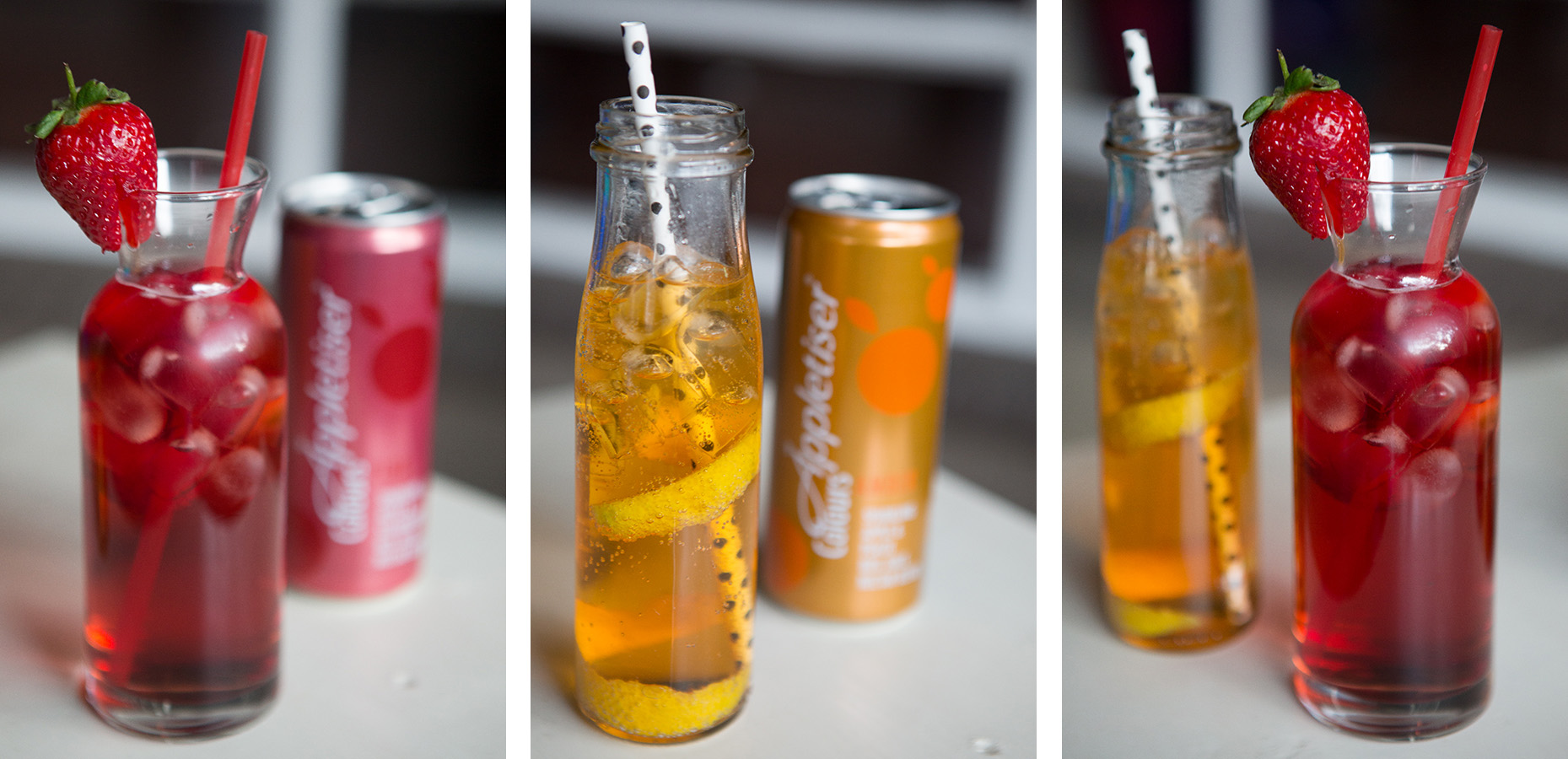 Appletise cocktails : Apple, Strawberry & Vanilla Vodka Cooler and Apple & Peach Gin Fizz