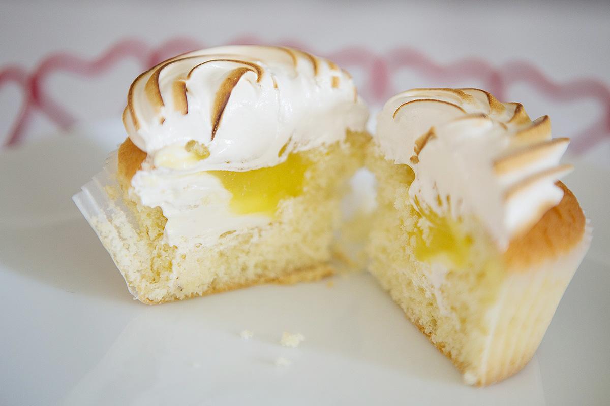 Inside of lemon meringue hidden centre cupcakes