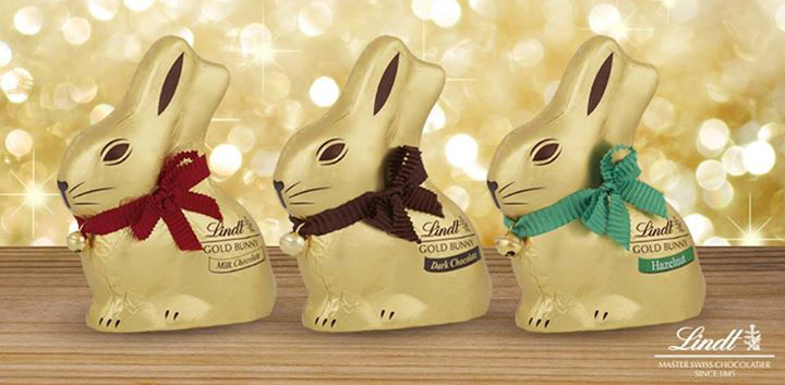 LINDT Gold Chocolate Bunny Flavours : Milk (red), Dark (brown) and Hazelnut (green)