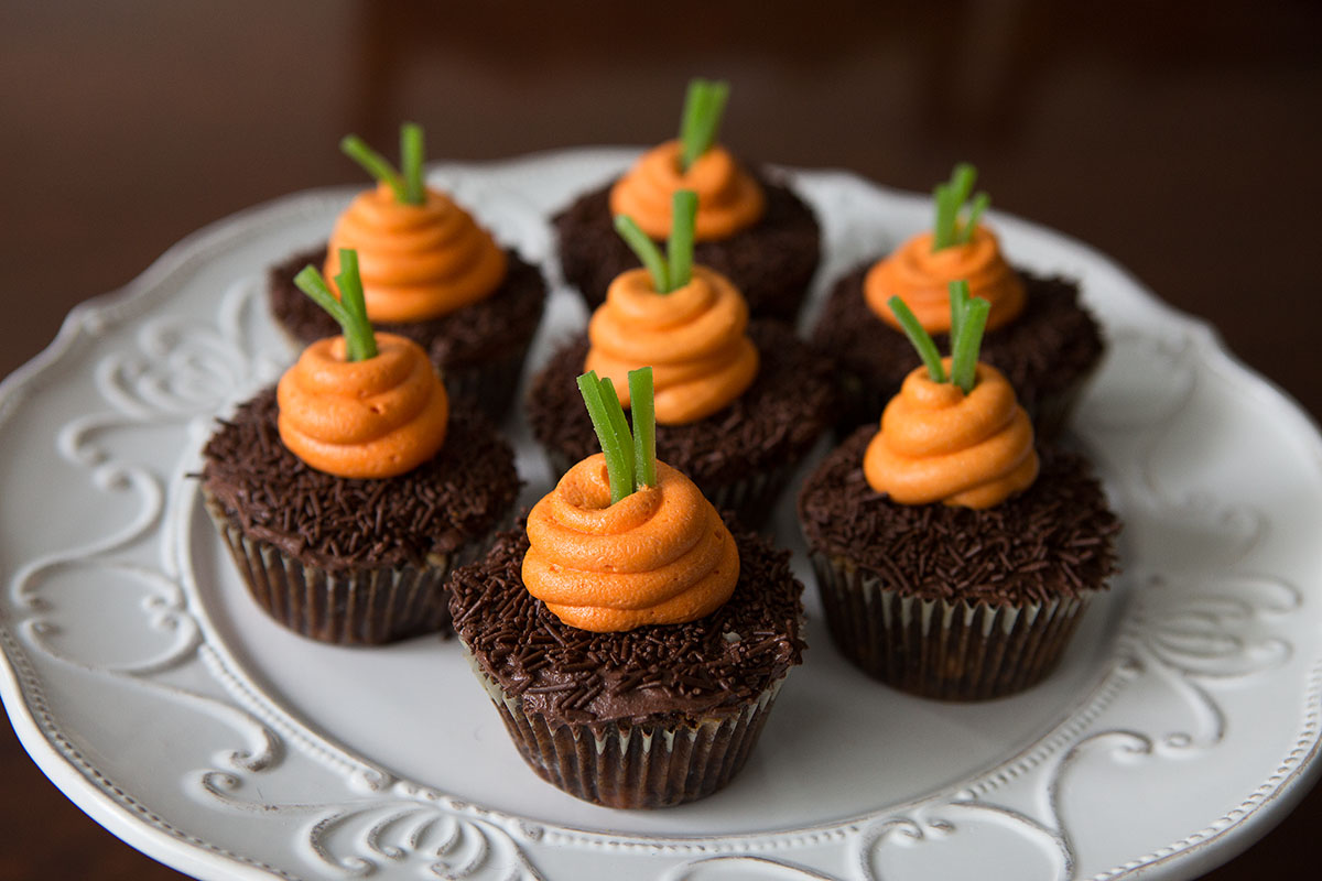 Easter inspired carrot cupcakes