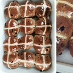 L-R : Hot cross buns about to go in the oven; Hot cross buns just out of the oven; Close up of hot cross buns