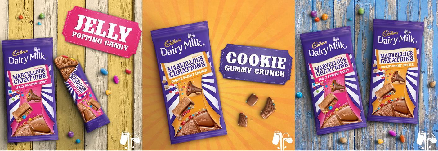 Cadbury Dairy Milk Marvellous Creations –  Jelly Popping Candy (160g & 38g) and Cookie Gummy Crunch (160g)