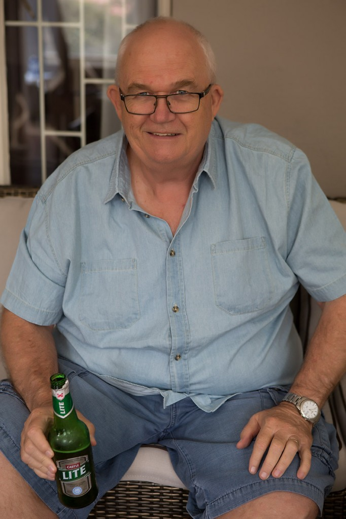 My dad, Graham, enjoying a beer on his birthd