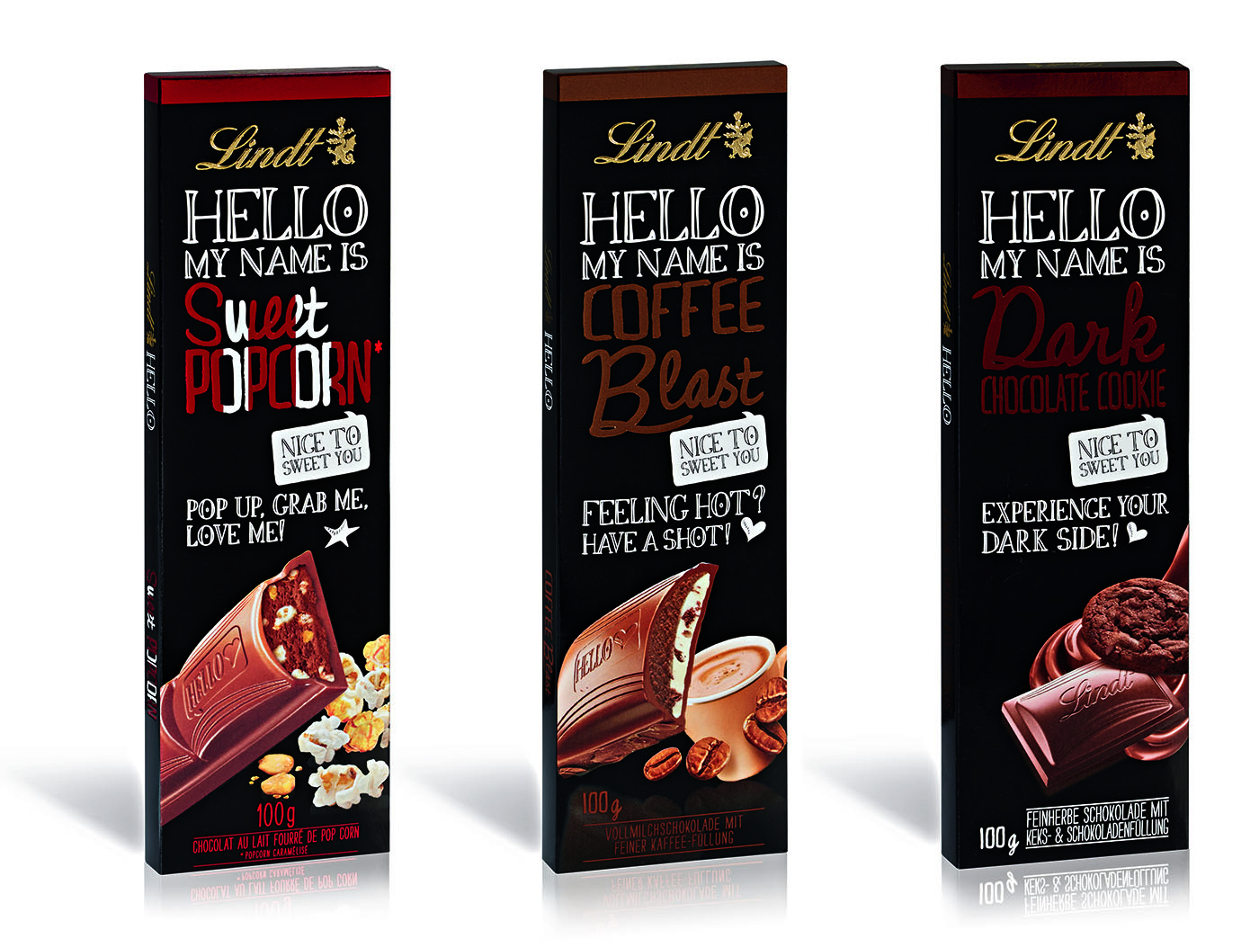 LINDT HELLO Sweet Popcorn, Coffee Blast and Dark Chocolate Cookie (100g slab) Image courtesy of LINDT