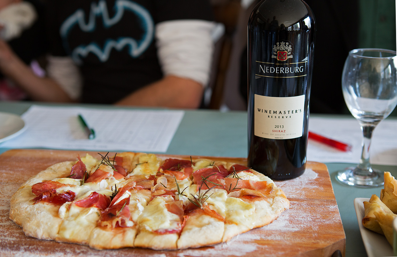 Nederburg Winemaster's Reserve Shiraz 2013 paired with a Camembert, Prosciutto and cranberry pizza