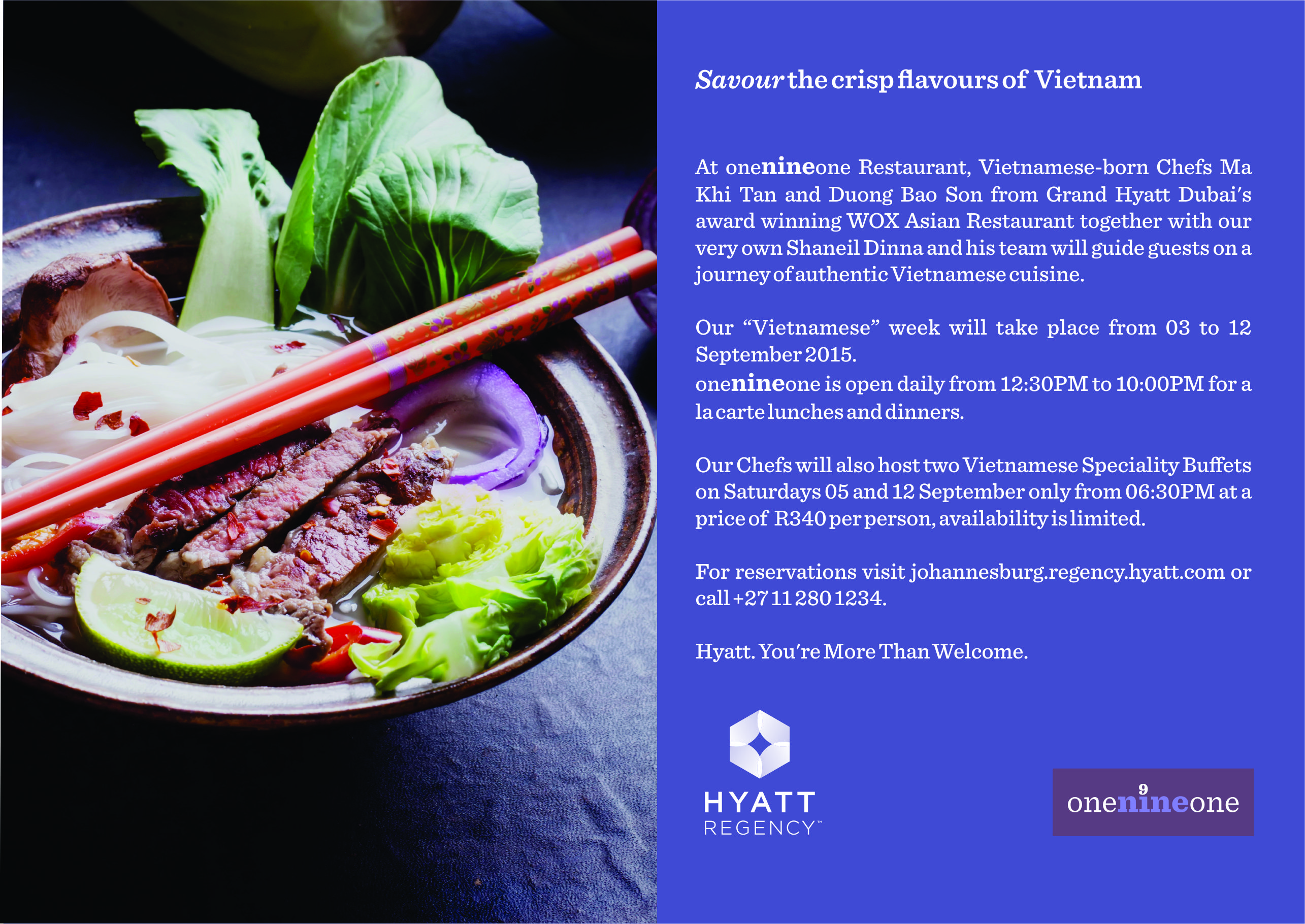 Vietnamese Food Promotion at Hyatt Regency Johannesburg, image supplied by the Hyatt