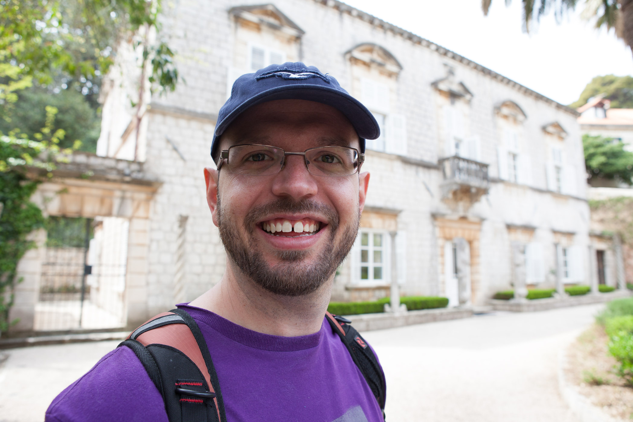 My husband, Garith in the gardens of the University of Dubrovnik