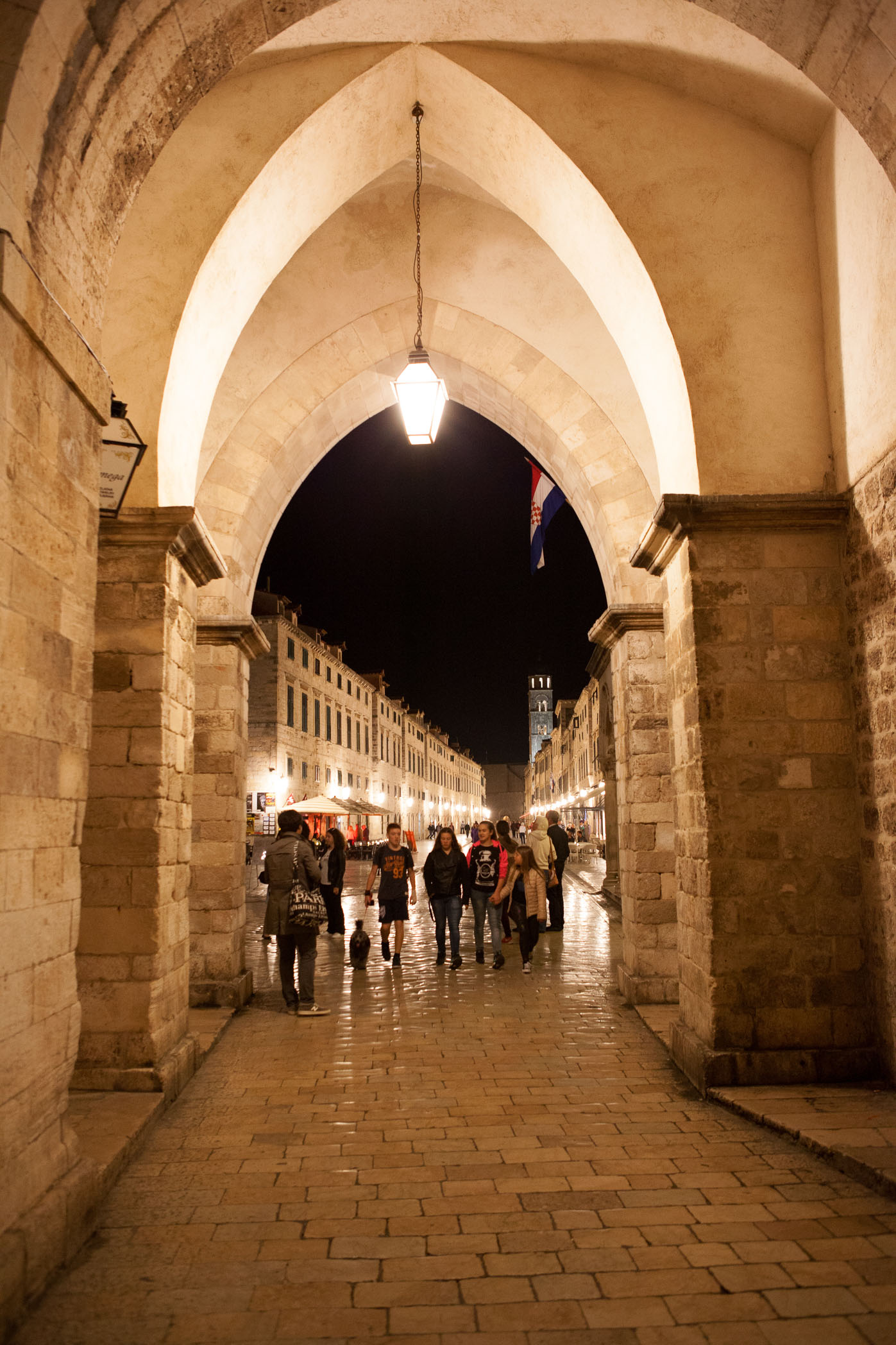 Stradun, which is the main street in Dubrovnik, at night