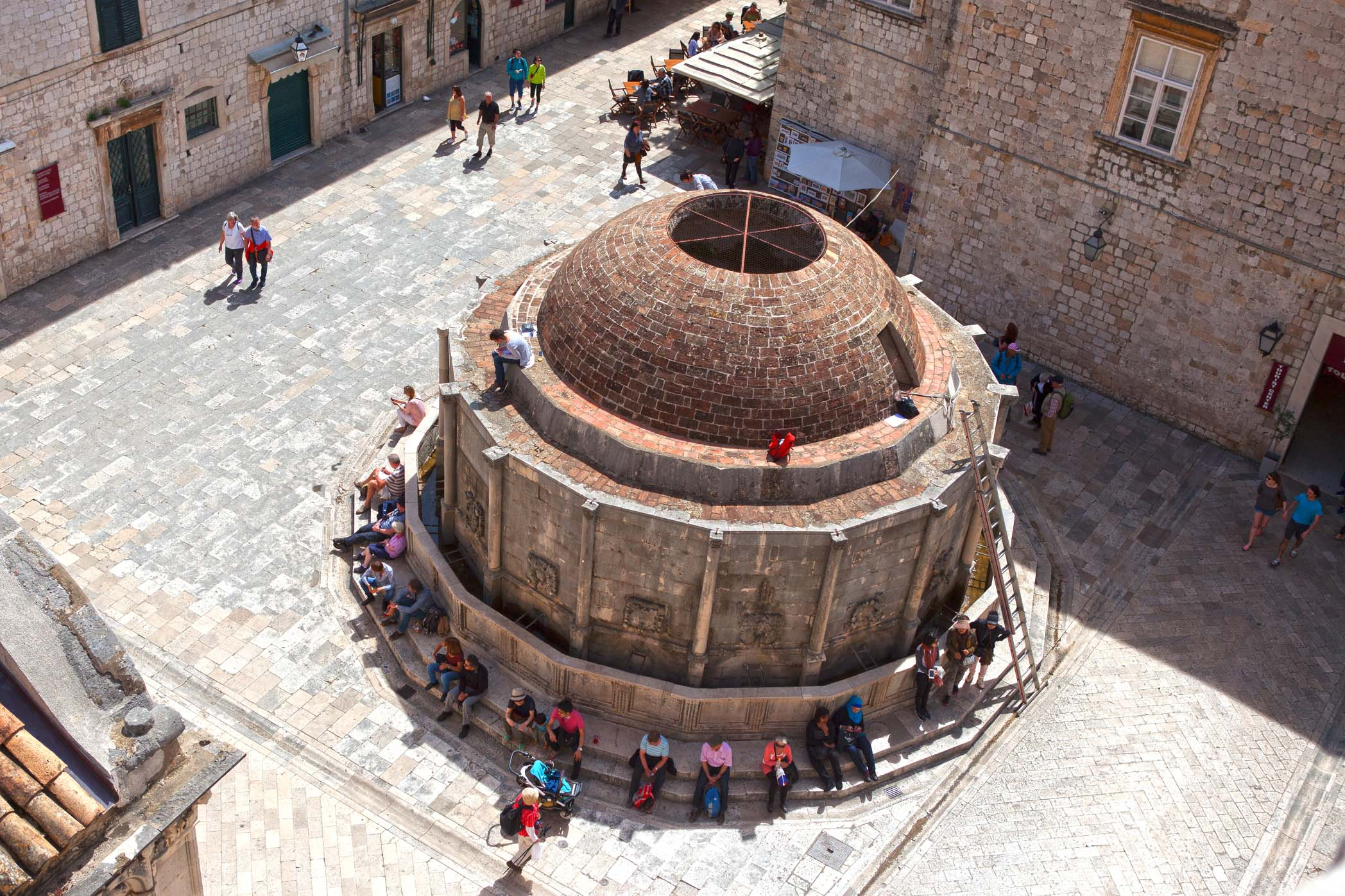 The Large Onofrio's Fountain, photographed from the wall that surrounds Dubrovnik