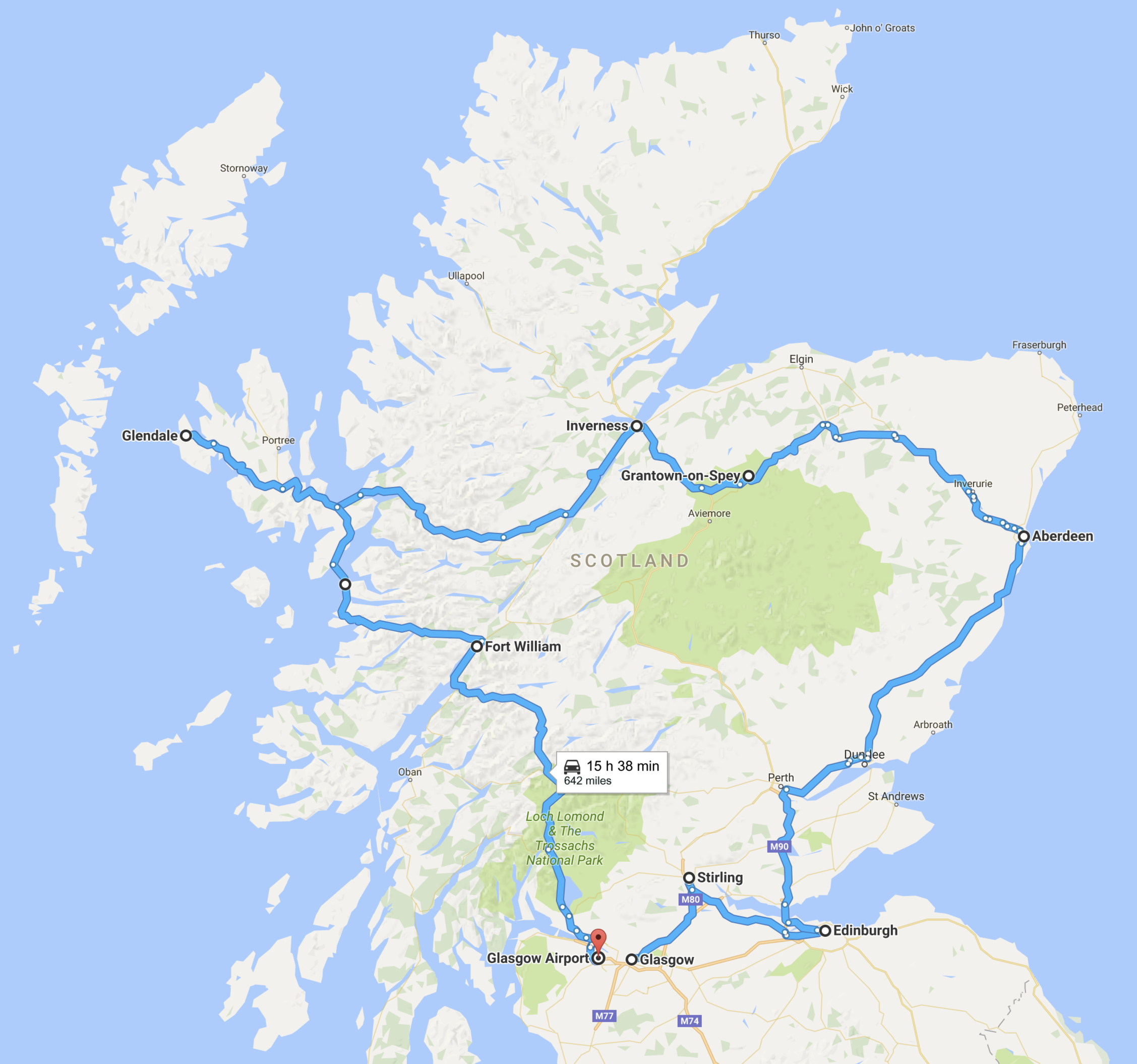 google map scotland, road trip map of scotland, map of my road trip