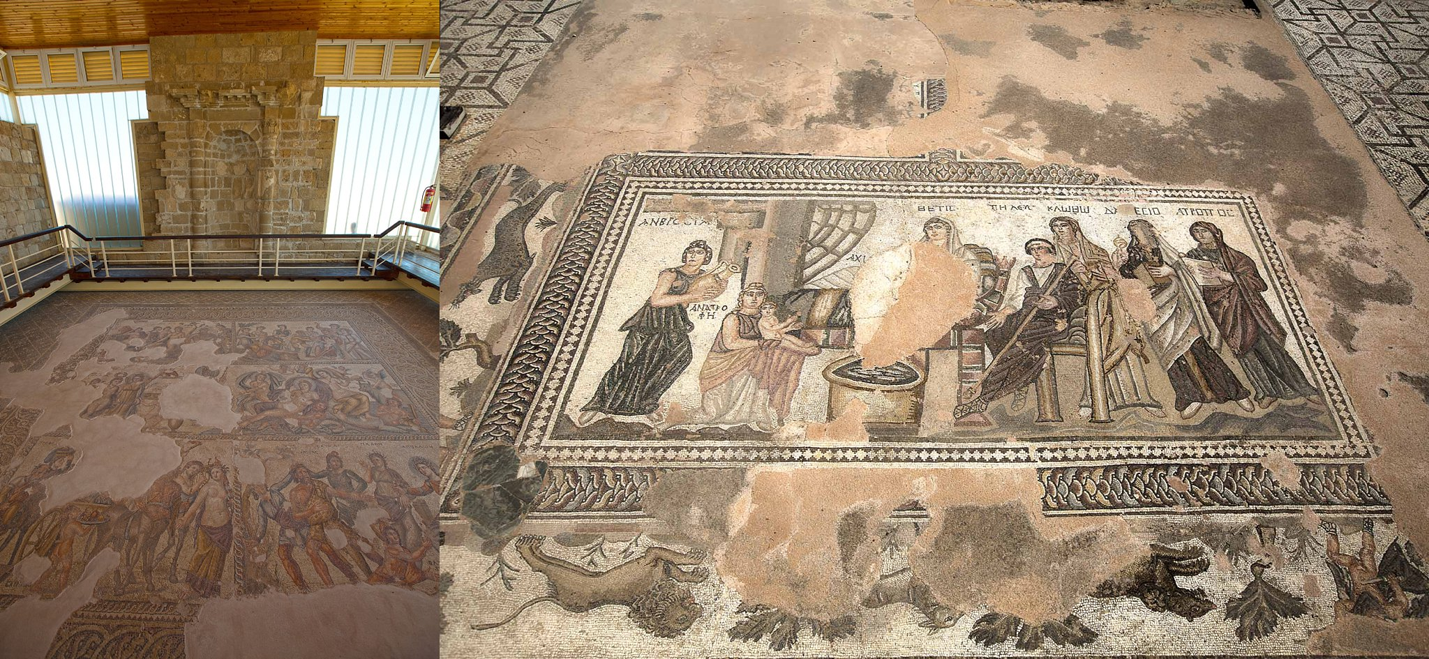 Some of the mosaics at Kato Paphos Archaeological Park in Paphos, Cyprus