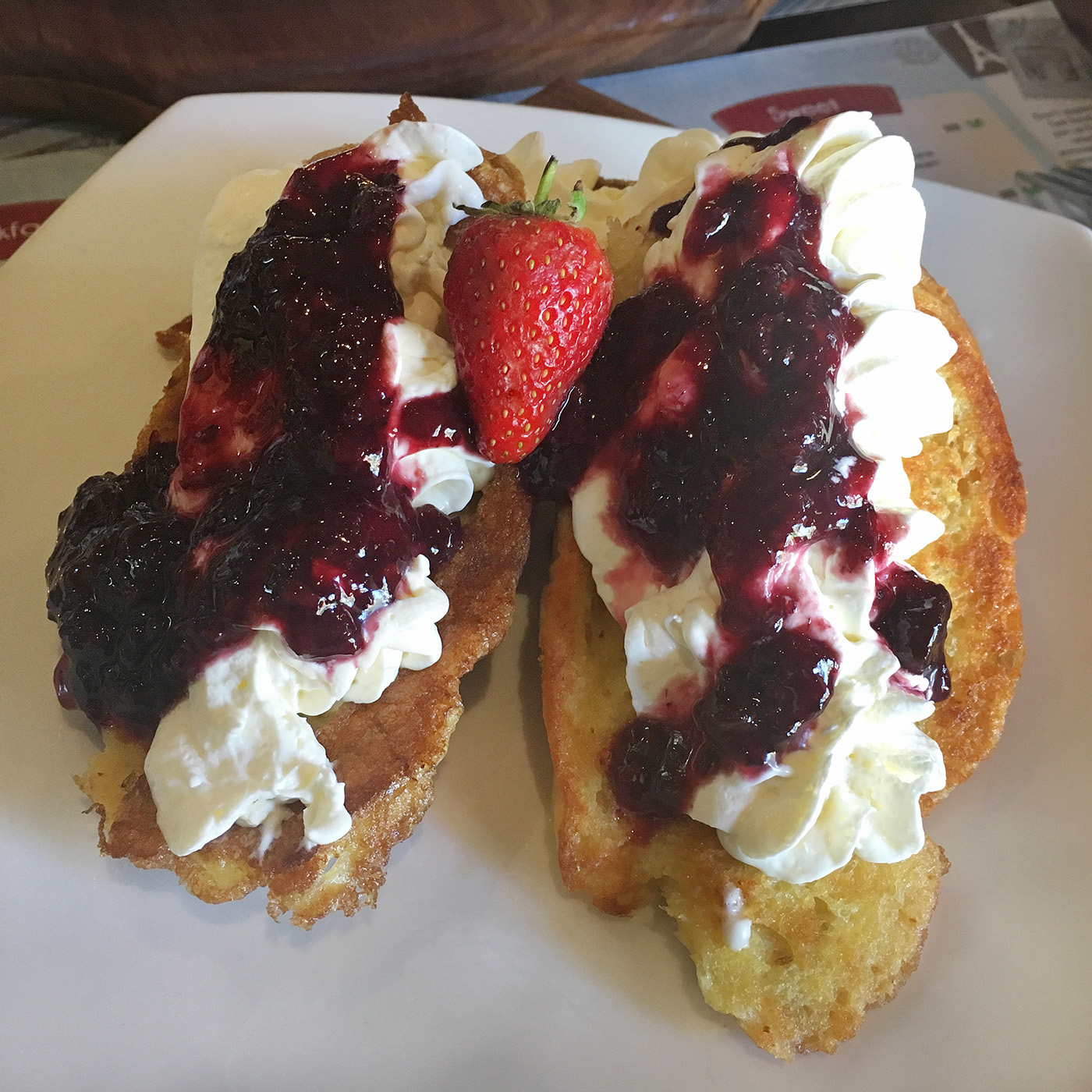 french toast with cream cheese mousse and berry compote,