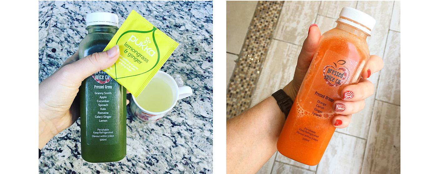 Pressed Juice Co - Pressed Green & Pressed Orange, they are juice 1 & 2